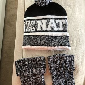 PINK black/white knitted hat and boot 👢 cuffs